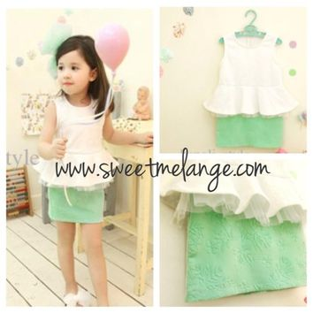 white and green dress, peplum top, children dress, girls dress, events, toddler, princess, floral design