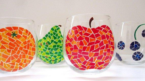 You Pick 2 Fruit Mosaic Wine Glasses By From Swirlygarden