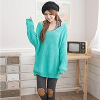 Leisure Pure Color Plait Pattern V-neck Design Loose Top Sweater Blue&Green-Wholesale Women Fashion From Icanfashion.com