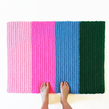 Retro Rug Crochet Color Block Stripe Rectangle Area Mat