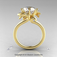 Art Masters 18K Yellow Gold 3.0 Ct White Sapphire Dragon Engagement Ring R601-18KYGWS