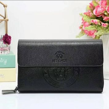 Versace women shopping leather handbag purse wallet black I-LLBPFSH