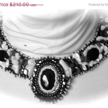 ON SALE Bead Embroidered Collar, Black Onyx Cabachon, Onyx Beads, Mother of Pearl