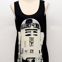 R2D2 Star wars Movie Shirt Black Tank Top Woman Tee Tunic Unisex Singlet Women Size M