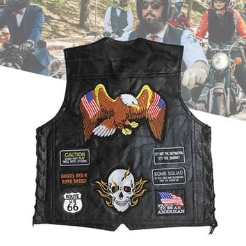 Genuine Leather Motorcycle Vest Men Punk Retro Classic Style 14/23/42 Patches Motorcycle Jacket Biker Club Casual Vest Clothing