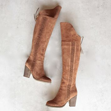 Sbicca   Gusto   Over The Knee Suede Leather Boots   Tan