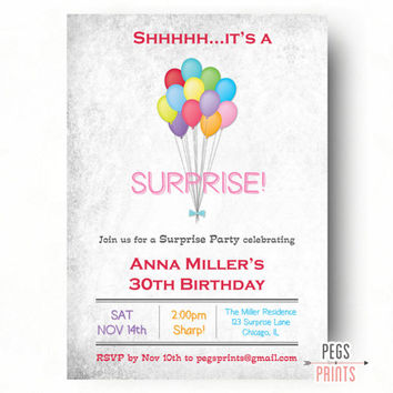 Surprise Birthday Invitation - Adult Surprise Party (Printable) Surprise Birthday Party Invitations - Surprise Birthday Invites for Women
