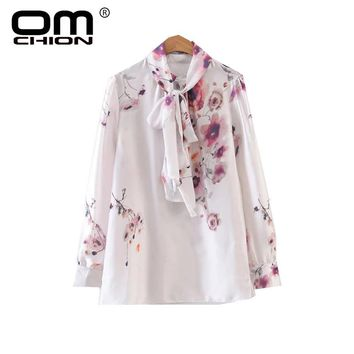 New Women Stand Blouse Floral Print Long Sleeve Shirts Fashion Loose Ink Painting Lacing Top