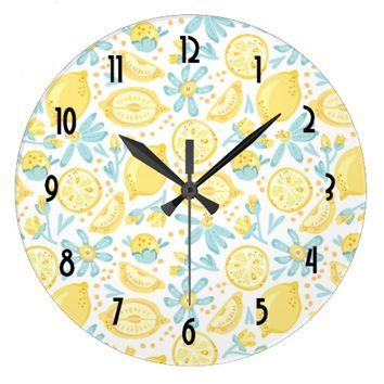 Yellow Lemons & Blue Flowers Illustrated Pattern Large Clock