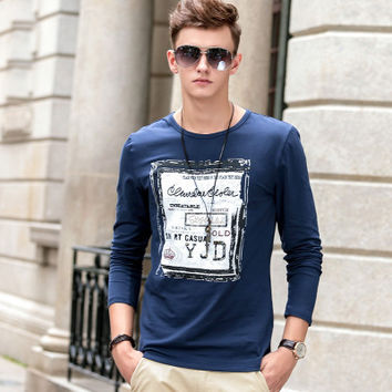 England Style Autumn Men Slim Print Round-neck Long Sleeve T-shirts [6524650179]