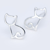 925 sterling silver cute cat Earrings ,personalized fashion cat earrings,a perfect gift