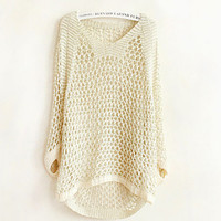 Hollow out gold long sleeve Knit a sweater   XF1201I