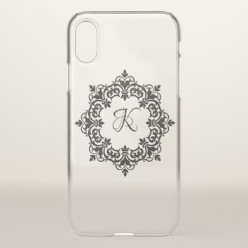 Custom Monogram Decorative Clear iPhone X Case