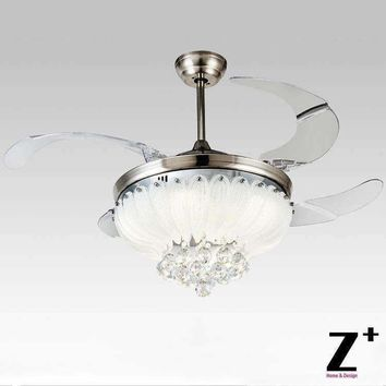 "American modern Style Led lights Lotus 4 Collapsible fan Crystal Chandelier with Remote Control 42"" lamp Free shipping"