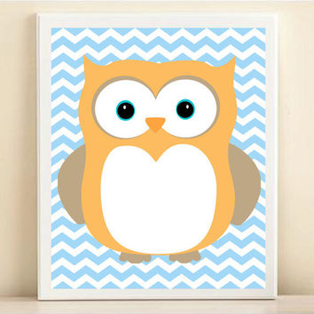Nursery Chevron Owl Art Print: Blue Baby Boy Nursery Wall Decor - Customize To Your Colors 8x10