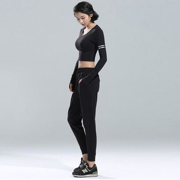 New women Sportswear suit T-Shirts&leggings running Fitness breathable Quick-drying sports Sets for ladies yoga dancing clothes