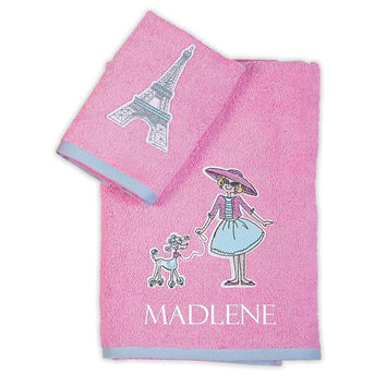 Personalized baby towels-I Love Paris 100% terry cotton 2 pcs set with name  embroidery-pink toddler towel set - baby shower - birthday gift