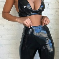 Show Me How Patent PU Faux Leather Sleeveless V Neck Crop Top High Waist Shorts Two Piece Romper Set - 3 Colors Available