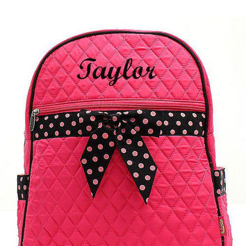 Hot Pink and Black Polka Dot Monogrammed Backpack  Monogram Quilted Backpack  Personalized Backpack