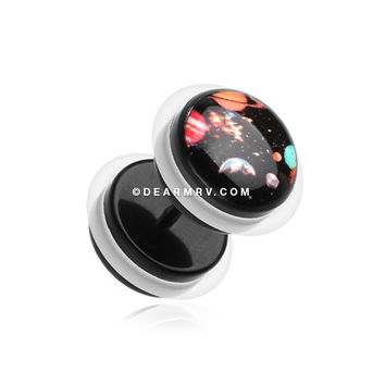 A Pair of Galaxy Universe Acrylic Fake Gauge Plug Earring