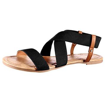 Women's Elastic Flat Sandals Rubber sole Medium Width Slingback Sandals