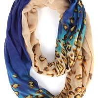Woven Infinity Scarf with Multicolor and Leopard Print