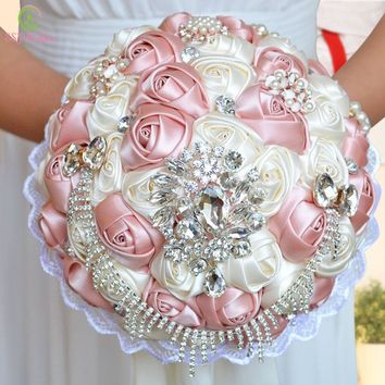 New Luxury Wedding Bouquets Silk Crystal Pearl Rose Flower Bridal Bouquet Holding Flower Photography Accessories