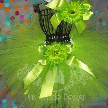 Made to Order 2 Pc. Lime Green Tutu w/Matching Headband - Birthday, Easter, Dance, Fun - Baby- Girl - Toddler - FREE shipping