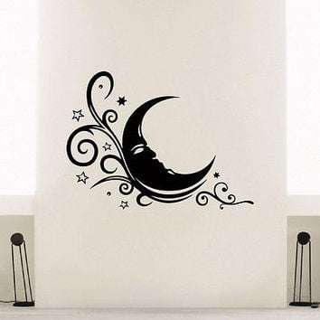 WALL DECAL VINYL STICKER FLORAL MOON SYMBOL ETHNIC DECOR SB805
