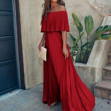 New Summer Bohemian Vintage Robe Waist Fashion Ruffle Pleated Dress Pure Red Off Shoulder Sexy Dresses LS*D