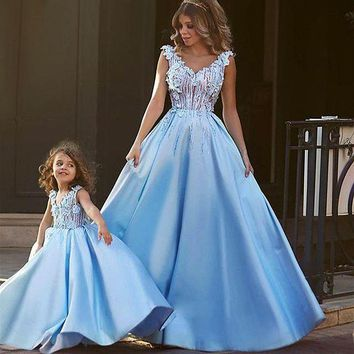 LMFLD1 Matching Mother Daughter Clothes Dress Party Mom and Daughter Dress Wedding Formal Clothes Mother Kids Matching Elegant Dresses
