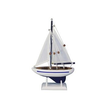 Wooden Blue Pacific Sailer Model Sailboat Decoration 9""