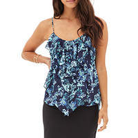 LOVE 21 Tiered Ruffle Floral Cami Navy/Blue