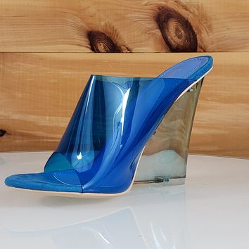 "Jelly Drop Clear Blue Lucite 3.5"" High Heel Slip On Wedge Sandal"