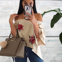 Rosa Decal Off-the-Shoulder Blouse