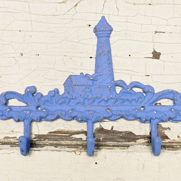 Wall Hooks, Nautical Wall Hooks, Lighthouse Wall Hook, Beach Decor,Beach Wall Hook, Decorative Wall Hook, Beach House Decor, Iron Wall Decor