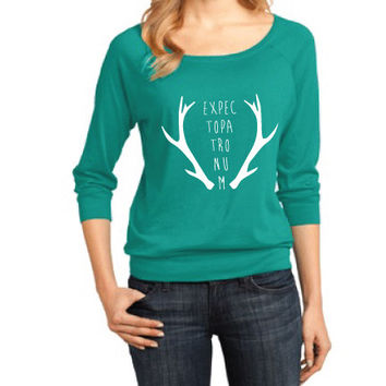 Harry Potter Inspired Clothing - Expecto Patronum Stag Antlers Raglan 3/4 Length Sleeve - Ladies