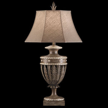 Fine Art Lamps 810210ST Villa Vista One-Light Table Lamp in Hand Painted Driftwood Finish On Metal with Silver Leafed Accents with Hand Sewn Driftwood Linen Shade