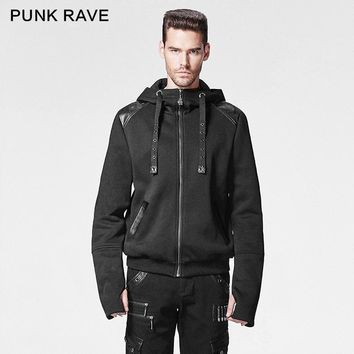 Punk Rave Punk Man Coat with Rhinoceros Horn Decorated O-Neck Regular Conventional Zipper Full Overcoat Peacoat Punk Hoodies Men