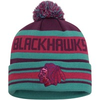 Mens Chicago Blackhawks New Era Teal/Purple Fashion Jake Metallic Beach Knit Hat