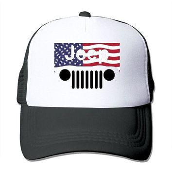 DCCKUG3 Jeep American Flag Logo Mesh Trucker Caps/Hats Adjustable For Unisex Black