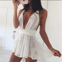 Celebrity Style Women's overalls Deep V Neck Floral chiffon Jumpsuits Playsuits Boot Cut Summer womens jumpers macacao feminino