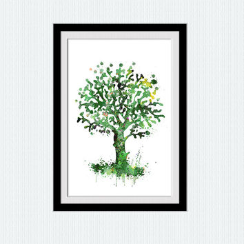 Tree watercolor poster Spring tree colorful print Tree illustration Home decoration Wall hanging art Wall art for gift Kids room decor  W235