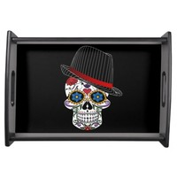 Hipster and Funny Skull Serving Tray