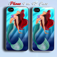 Ariel Little Mermaid Beauty Custom iPhone 4 or 4S Case Cover