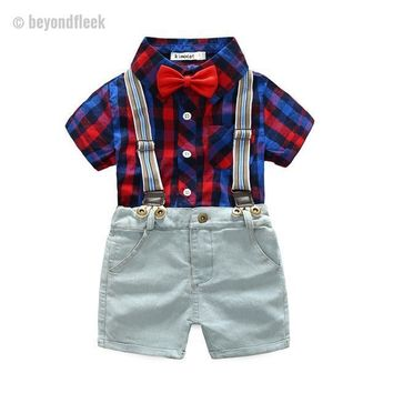 2Pcs Gentleman Red Plaid Shirt+Suspender Shorts Outfit (3T - 8 Years)