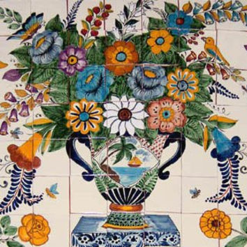 "Tile Mural ""Flowers & Butterflies"""