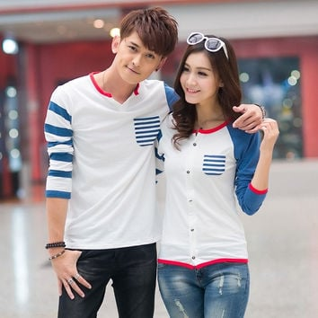 2015 new couples dress new spring Korean backing ladies Korea Long Sleeve T-Shirt Large code class service = 1929922500