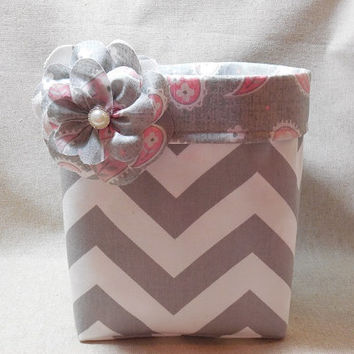 Gorgeous Gray Chevron Basket With Pink Paisley Liner and Detachable Fabric Flower Pin