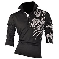 jeansian Men's Slim Fit Long Sleeves Casual POLO Tee T-Shirts U005